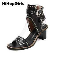 HiHopGirls New Summer Style Casual Lady Punk Sexy Woman Fashion Ankle Strap Rome Medium Heel Shoes Rivets Square Party Sandals
