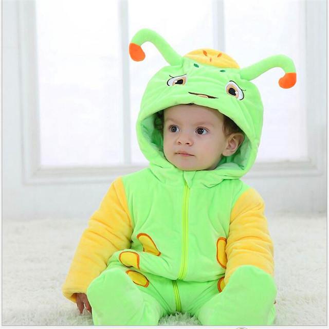 Footies bebê Inverno novo e confortável do algodão de lã clipe açúcar caricatura tesouro lindo modelagem macacão roupas infantis FWA3002