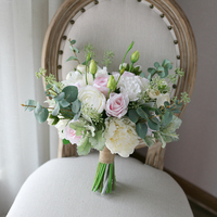 (summer) wedding bridal bouquet table centrepiece artificial flowers white pink rose ivory peony bouquet