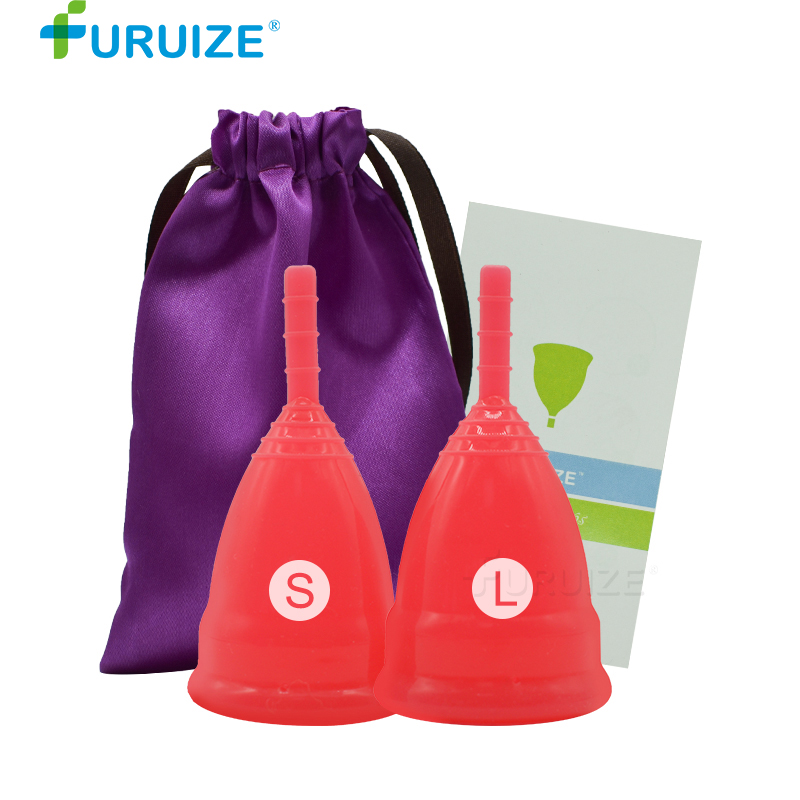 2pcs-1L-1S Menstrual cup Medical Grade silicone lady cup Copa menstrual Feminine hygiene women cup good than pads Menstrual cup