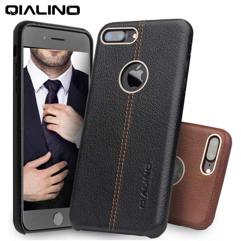 QIALINO Case untuk iPhone 7 Kulit Asli Kembali Luxury Cover Case untuk Apple iPhone plus 7 Slim Fashion case 4.7 / 5.5 inch