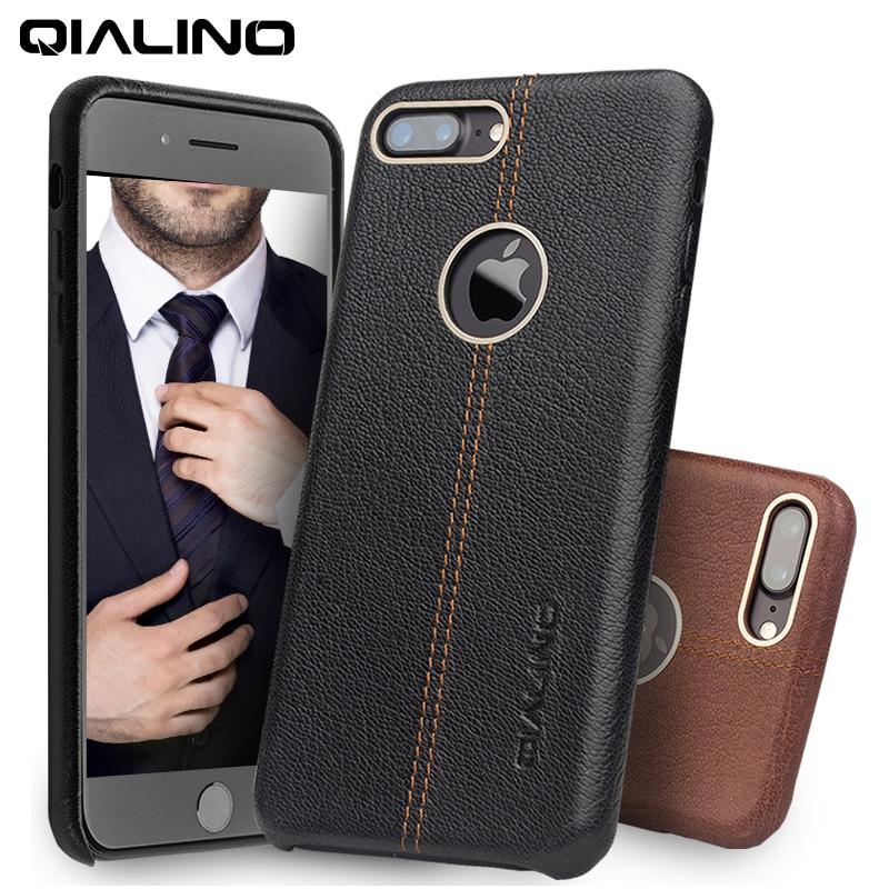 imágenes para QIALINO Caso para el iphone 7 Del Cuero Genuino de Nuevo Caso de la Cubierta de Lujo caja del teléfono para Apple iPhone plus 7 Delgada de La Manera 4.7/5.5 pulgadas