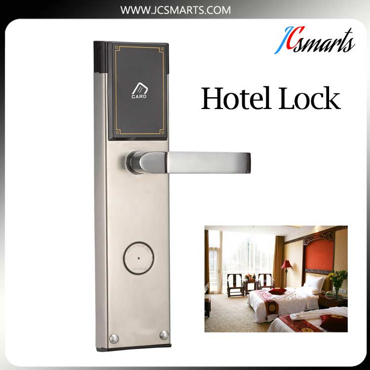 High security Sliver/Golde smart hotel lock digital door lock with hidden RFID card reader with logo sliver