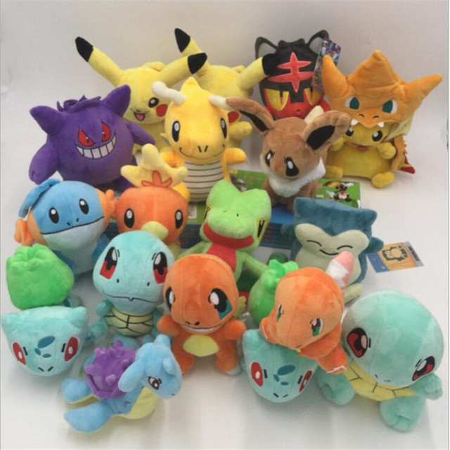 b21ce5f6 Christmas Day Gift 9 pieces/Lot Eevee Plush toy,15 Pcs/Lot Pikachu  Charmander Bulbasaur Squirtle Snorlax Dragonite Toy For Kids