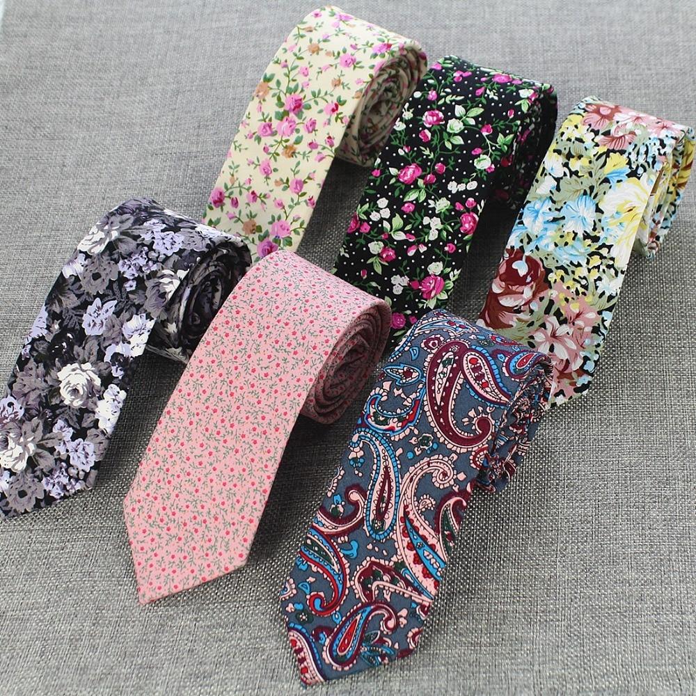 Narrow Skinny Necktie Casual Neck Tie Floral Flower Party Cotton Slim Tie 6CM
