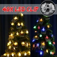 6m 40 LEDs Chrismas Tree Decor Light Photo Clip Holder Photo Clip Holder New Year Party Wedding Home Decoration Fairy Battery