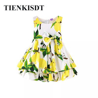 Bowknot Cottons Lemon Flower Sleeveless Girls Summer Dress 2018 Bear Leader Adorable Toddler Pirncess Kids Dresses