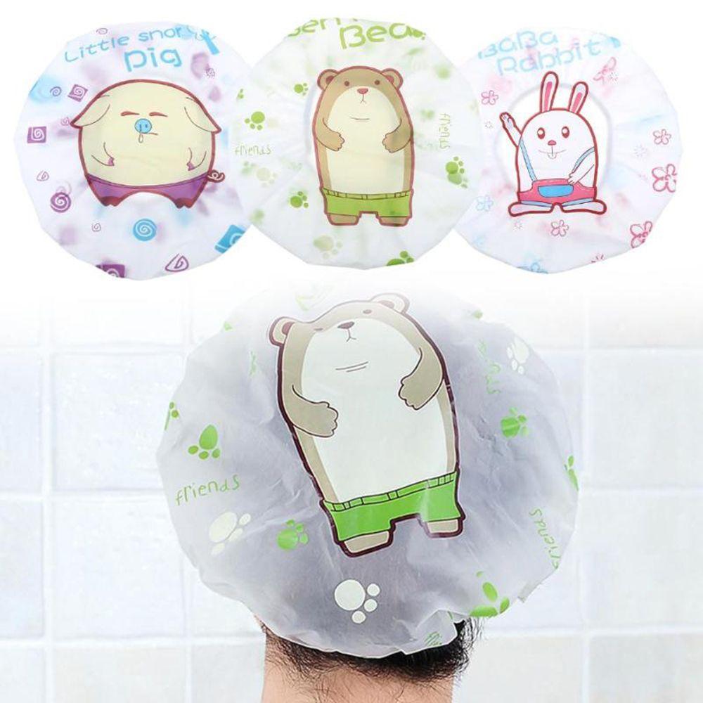 Cartoon Waterproof Women Kids Shower Caps Colorful Bath Shower Hair Cover swimming hats hotel elastic shower cap Bath products