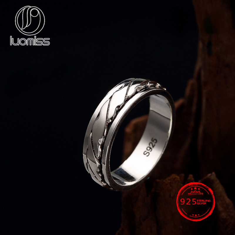 S925 Sterling Silver can turn the fashion personality simple time to run male and female lovers ring wholesale image