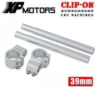 A Pair Silver Motorcycle Racing Billet CNC 39mm Clip On Handlebars 1 Bar Fits For Harley