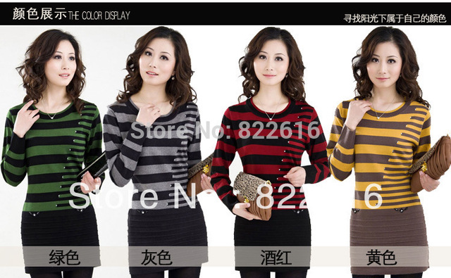 New Spring Fashion Knitted Pullovers Women Sweater Stripe Line