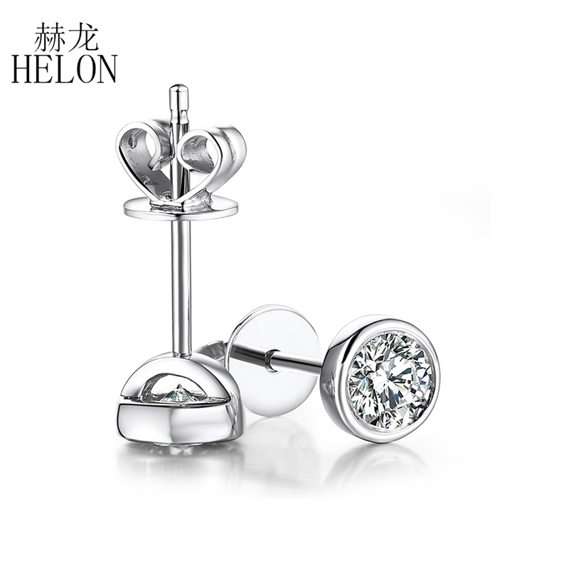 HELON 0.20 ct Round Cut Moissanites Earrings Solid 14K White Gold Stud Earrings For Women Moissanites Fine Jewelry 14k yellow gold over 2 ct d vvs1 round cut stud earrings