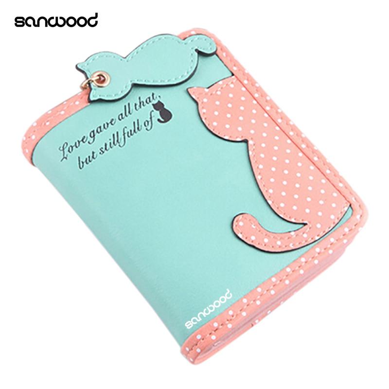 Lady Cute Carton Cat Pandent Short Long Purse Card Holder Zipper Coin Bag Wallet 9XZE