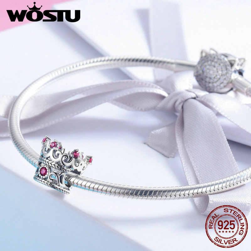 WOSTU 100% 925 סטרלינג כסף המלכה של כתר ורוד CZ חרוזים קסמי fit מקורי צמיד & שרשרת נשים תכשיטים CQC776