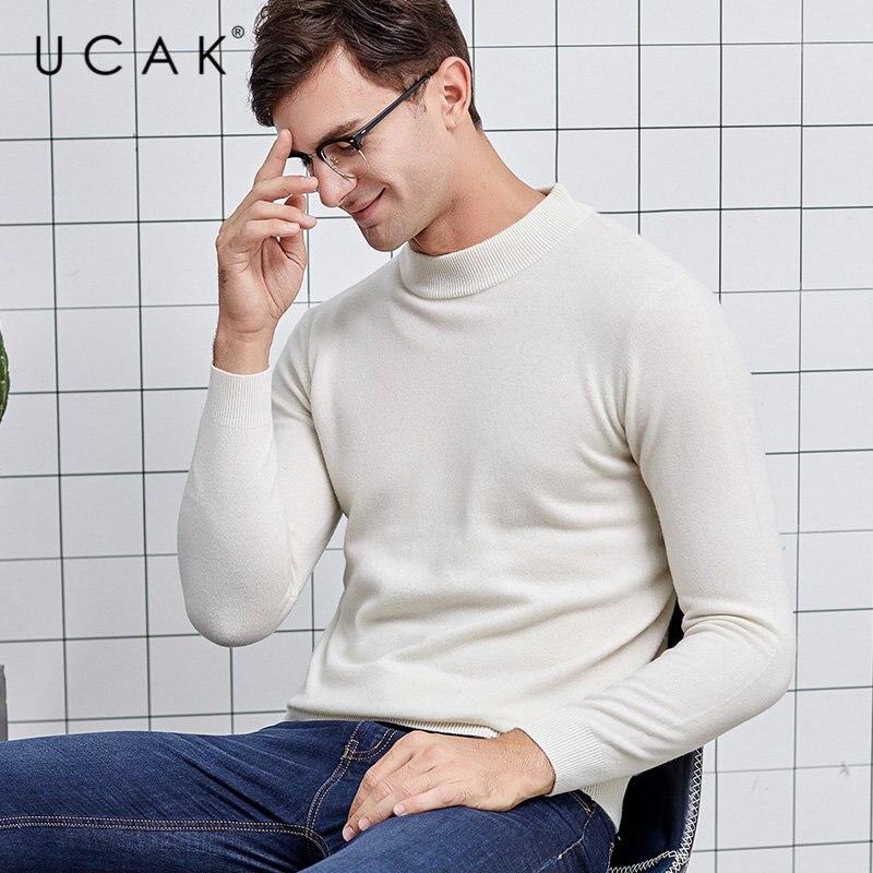 UCAK Brand Sweater Men Thick Warm Turtleneck Pull Homme Pure Merino Wool Pullover Men Autumn Winter Soft Cashmere Sweaters U3013