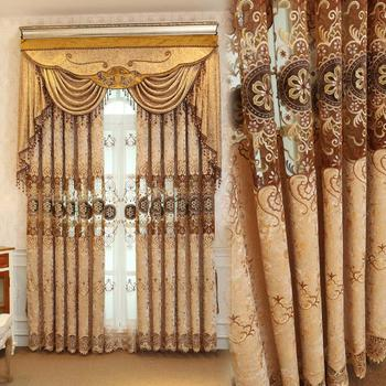 European Damask Curtains For Living Room embroidery Jacquard Blind Drapes Window Panel Fabric Curtain For Bedroom Shading 70% window valance