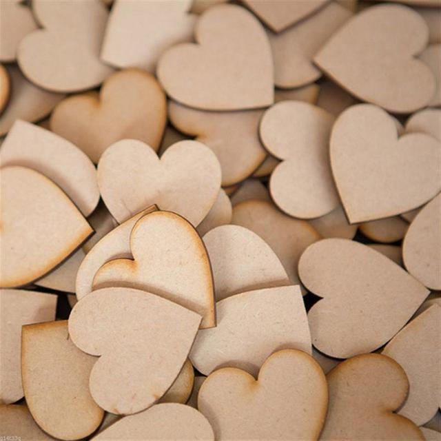 50pcs 20mm Wooden Heart Kids Birthday Party Supplies Diy Scrapbook Craft Wedding Decoration Valentine'S Day