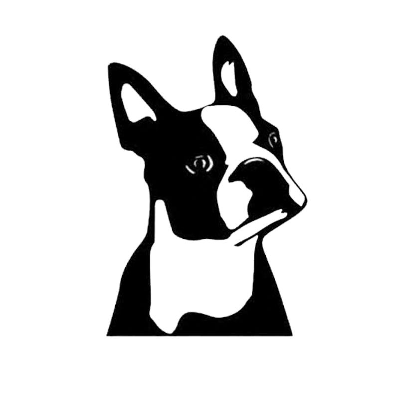 7.6*11.4CM Cute Boston Terrier Dog Car Window Decorative Stickers Cute Cartoon Vinyl Decal Black/Sliver C6-1558