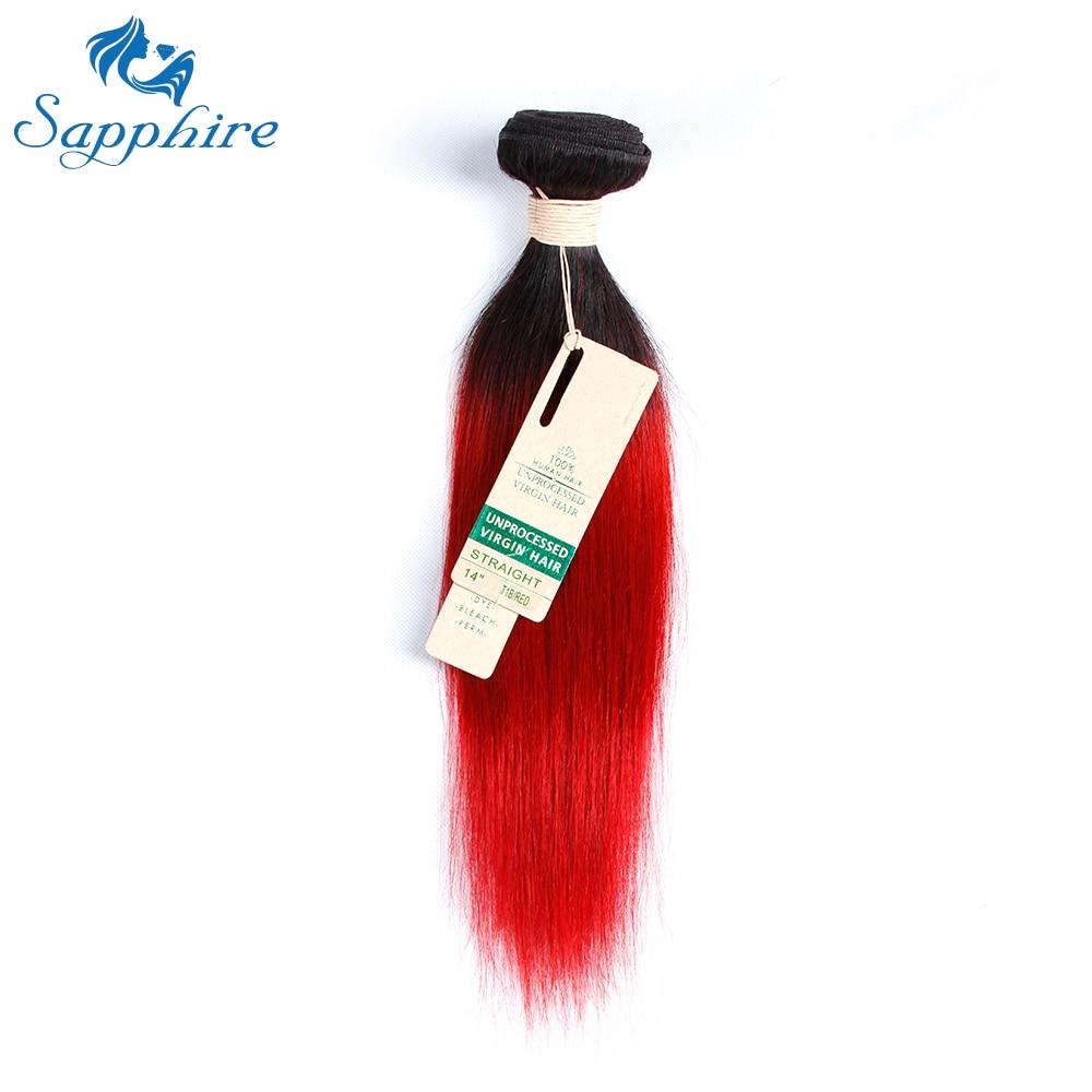 Два тона Ombre красный перуанские прямые пучки человеческих волос 1B Красный Ombre человеческих волос Weave Связки 1 предмет сапфир Волосы remy расшир...