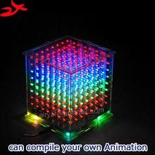 Zirrfa Nueva cubeeds con Excelentes animaciones 3D 8 multicolor mini luz 3D8 8x8x8 regalo de pantalla led, led kit diy electrónica