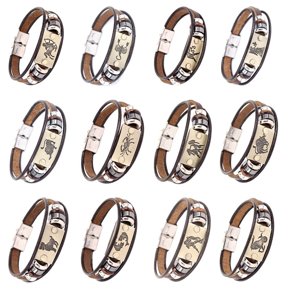 12 Constellations Men Bracelet Cuff Leather Alloy Zodiac Signs Man Casual Punk Bracelets @M23