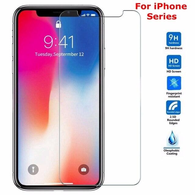 9 H Tempered Glass untuk iPhone X XS Max XR 6 6 S 7 7 Plus 4 5 S SE pelindung Layar HD Pelindung Kaca Di Iphone 6 6 S 7 7 Plus 5 S X