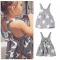 2017 Hot Summer Pretty Vestidos de Niña de Niño de Rayas Estrella Correa Backless Vestidos de Noche Vestido de Fiesta Infantil Holiday Beach Dress
