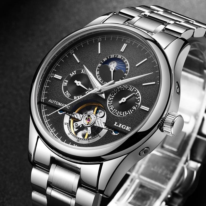 2018 New Mens Watches LIGE Top Brand Luxury Mens Tourbillon Mechanical Watch Mens Fashion Business Watch Relogio Masculino+Box