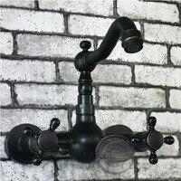 Bathroom Faucet Bathtub Mixer Tap Double Clawfoot Handle Black Oil Rubbed Bahttub Faucet Wall Mounted Bathtub