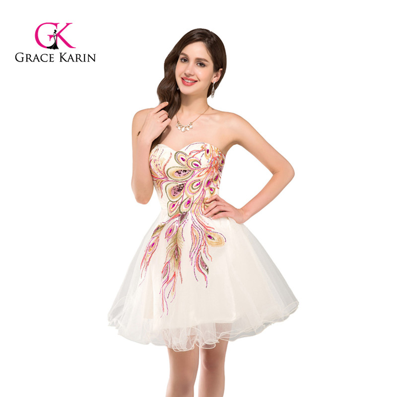 Grace Karin Strapless Beadings Sequined Mini Cocktail Dress 2018 Ball Gown Homecoming Dresses Vestido De Festa Longo Prom Dress