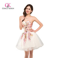 Grace Karin Strapless Beadings Sequined Mini Cocktail Dress 2017 Ball Gown Homecoming Dresses Vestido De Festa