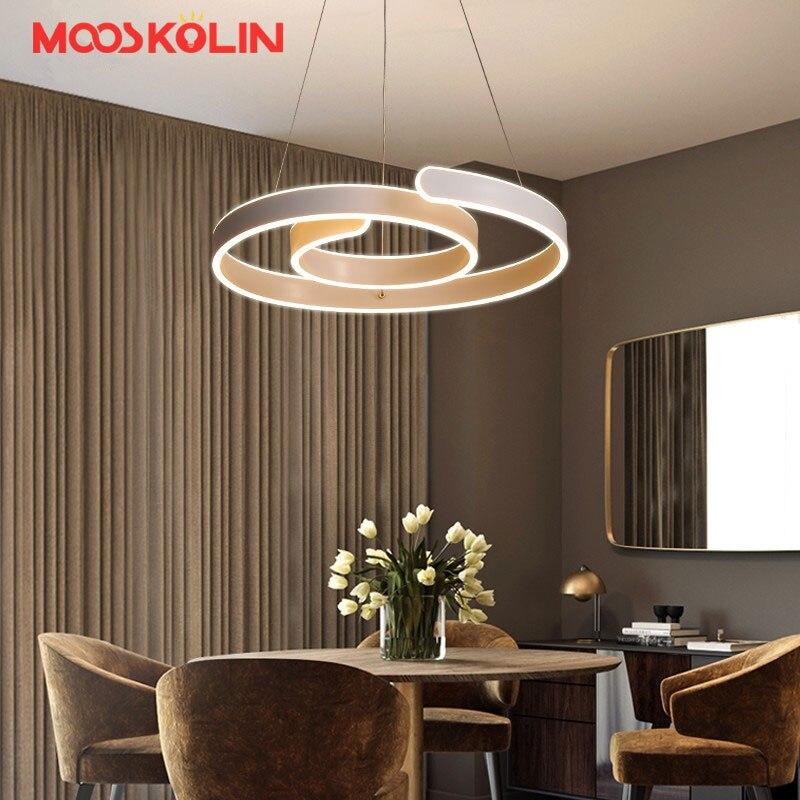 Новый дизайн D52cm современный светодиодный люстры для гостиной столовой Бар Акриловый алюминиевый корпус Светодиодное освещение потолочны