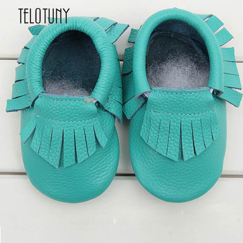 TELOTUNY Kids Tassel Soft Sole Leather Shoes Infant Boy Girl Toddler Moccasin Lake blue Cow leather S3MAR8