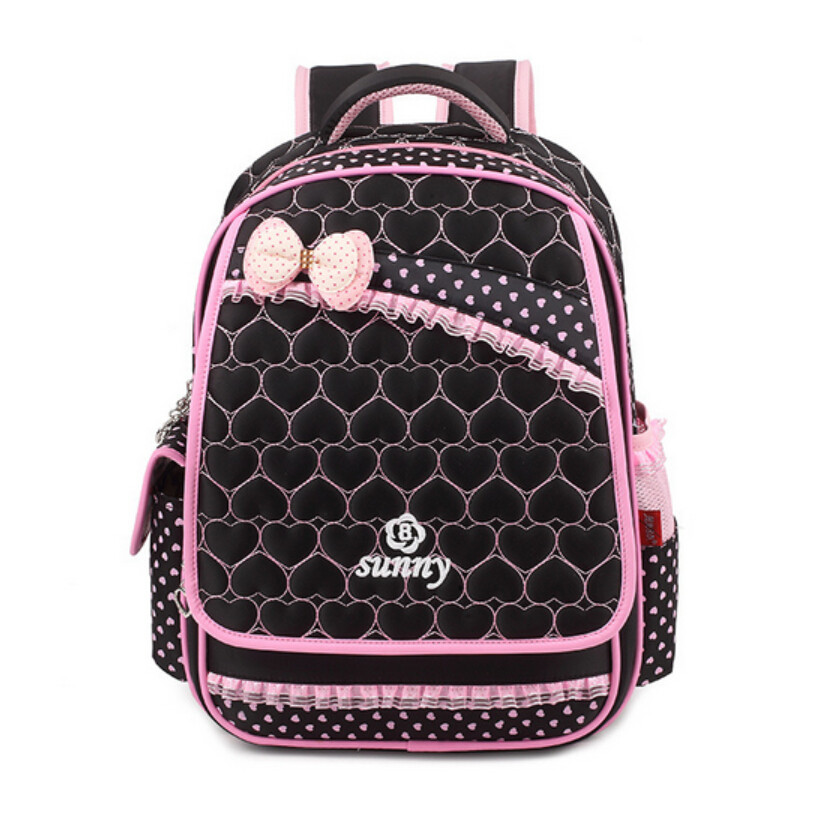 pink bow school bags for girls polka dot kids bag women backpack ... 9fa21da005b41
