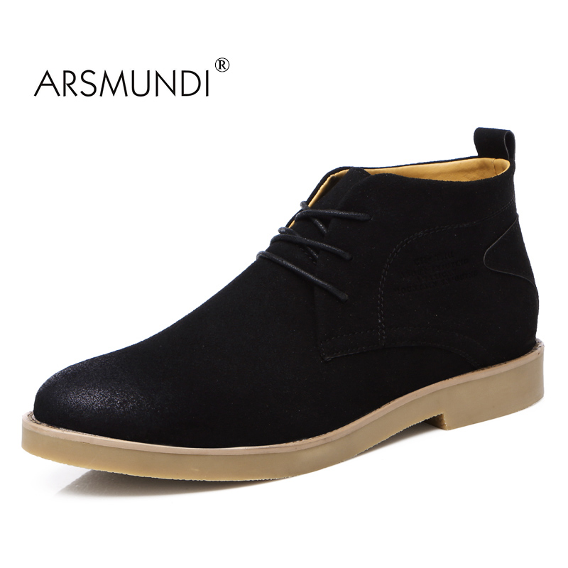 ARSMUNDI Original Men Casual Boots JY-A8 Fall 2017 PU Comfortable Lace-UP Men's Boots Solid Ankle Round Toe Fashion Men Shoes front lace up casual ankle boots autumn vintage brown new booties flat genuine leather suede shoes round toe fall female fashion