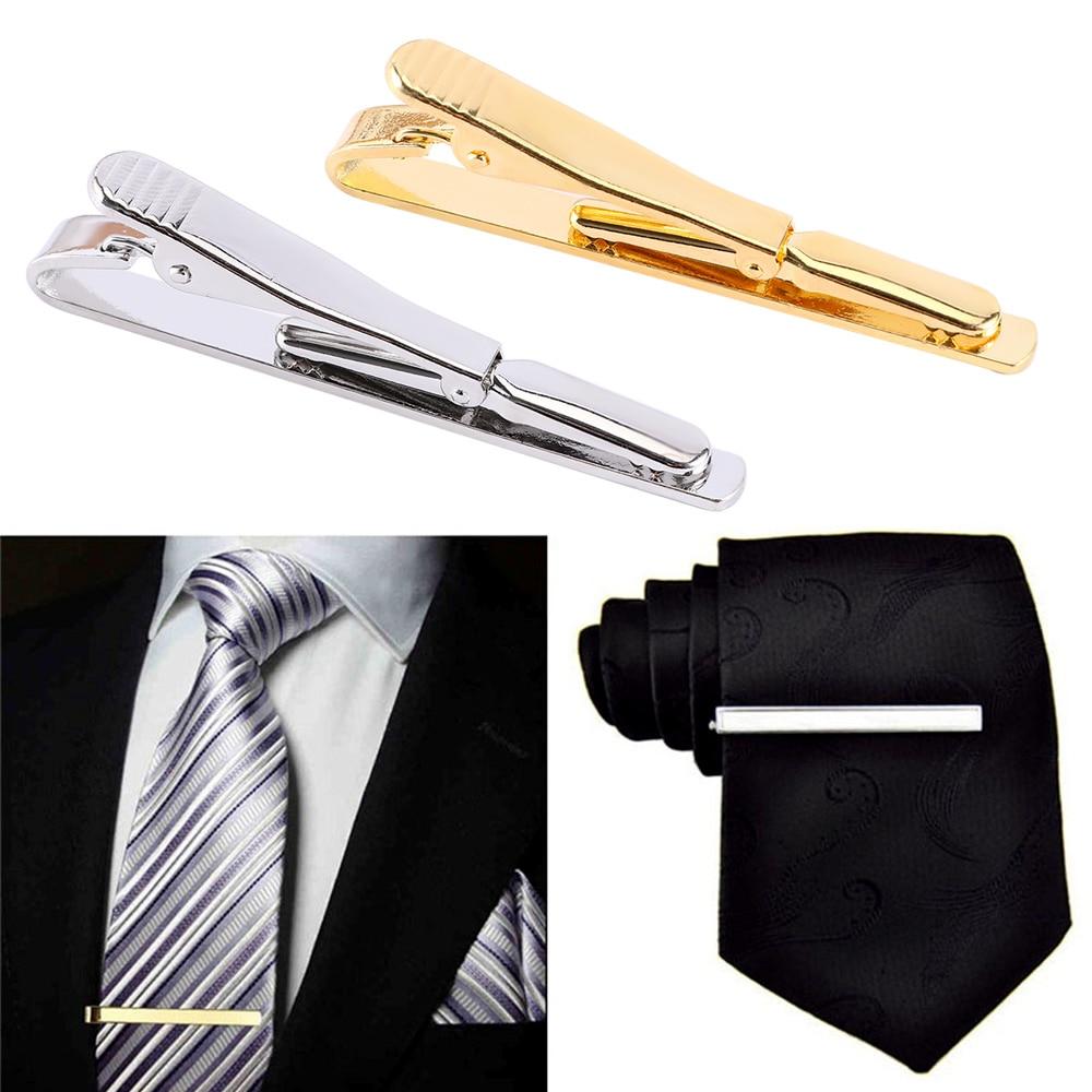 Tie-Clip Clasp Gold-Tone Metal Silver Fashion-Style Men for Simple Bar Practical Necktie