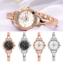 Elegant Ladies Women's Wrist Watch Rose Gold Bracelet Rhinestone Watch