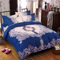 Cotton Sanding Bedding Set 1 pcs duvet cover Flower Printing Duvet Cover/quilt cover/comforter cover King Size Free Shipping
