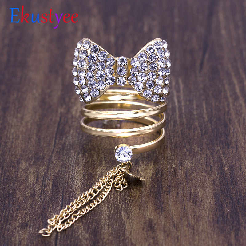 New Arrival Bowknot Crystal Tassel Rings for women adjustable fashion jewelry