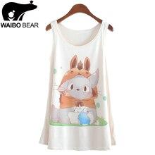 Summer fashion style 2018 New totoro print Sleeveless Tshirt women Loose plus-size women's t shirt One size tees camisetas tops