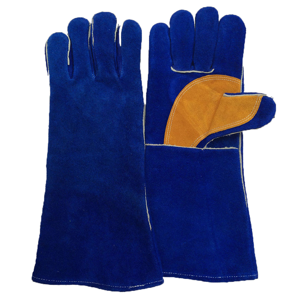 Good quality leather work gloves - Blue Yellow Insulated Grip Cowhide Leather Work Gloves Safety Gardening Gloves Reusable High Quality
