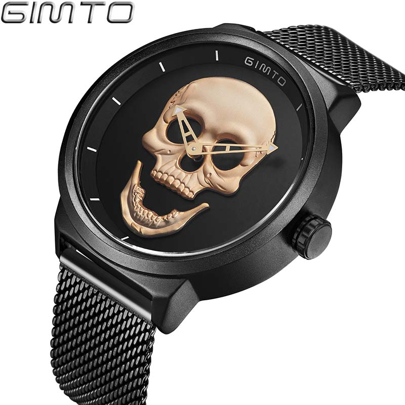 Men's Watch GIMTO Cool Bone Luxury Brand Creative Clock Steel Black Male Watch Skull Style Quartz Men Watches relogio masculino