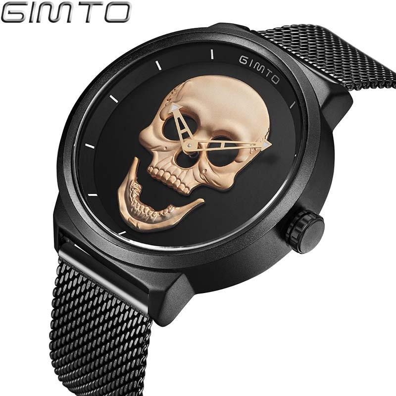 Men's Watch GIMTO Cool Bone Luxury Brand Creative Clock Steel Black Male Watch Skull Style Quartz Men Watches relogio masculino