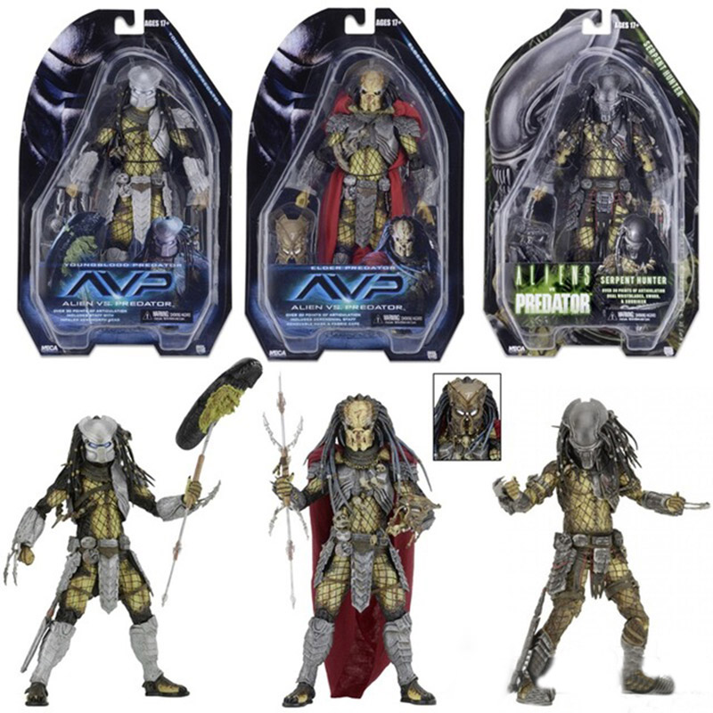 3pcs/set high quality Toys NECA Figma ALIEN AVP Aliens Predator Elder Serpent Hunter PVC joker figure Collectible Model 18cm free shipping neca p1 7 soldier set classic predator 21cm alien hunter primevil avp