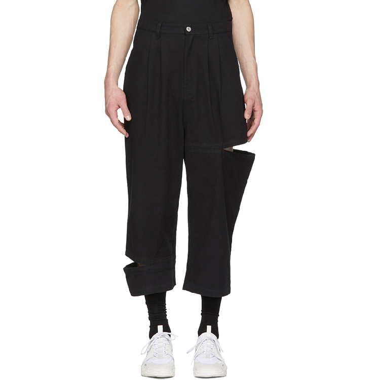 24-46 Men's Casual Pants Holes Spring Summer Products Stitching Broken Wide Leg Pants Loose Pants Hanger Plus Size Men