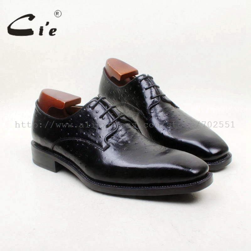 cie Free Shipping Bespoke Handmade Embossed Ostrich Calf Leather Bottom Breathable Goodyear Welted Lace-up Derby Men Shoe D225 cie calf leather bespoke handmade men s square toe derby leather goodyear welt craft mark line shoe color deep flat blue no d98