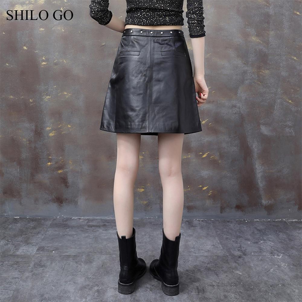 Rivet Mode Peau Cuir Haute Ligne Taille Bureau Noir Une Pour Dame Mouton Jupes Femme D'été De En Véritable nvf0Y7qd0w
