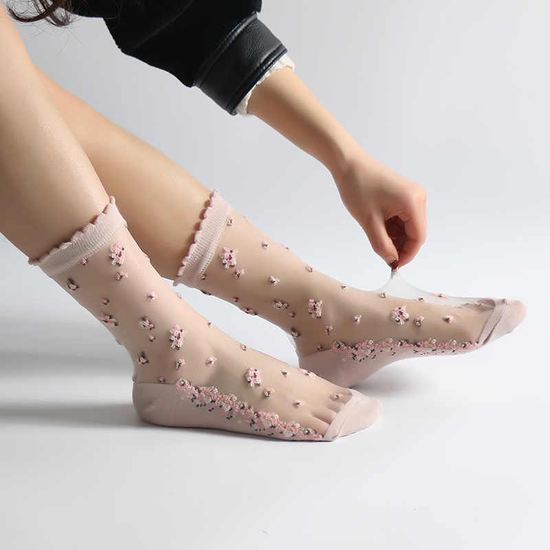 1 Pair Women Flower Sock Summer Lace Crystal Glass Silk Socks Short Thin Transparent Roses Jacquard Elastic Ultrathin Socks