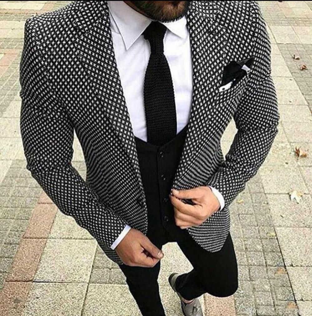 캐주얼 격자 무늬 우아한 웨딩 정장 남자 3 조각 (자켓 + 바지 + 조끼 + 넥타이) 패션 맞춤 정장 턱시도 terno masculino 블레이저-에서정장부터 남성 의류 의  그룹 1