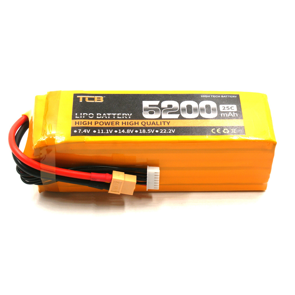 TCB 6s li-poly Batteria 22.2v 5200mah 25c for rc model aircraft airplane drone car high power 6s Lipo battery mos 6s rc lipo battery 22 2v 25c 12000mah for rc aircraft car boat quadcopter drones helicopter airplane 6s li polymer batteria